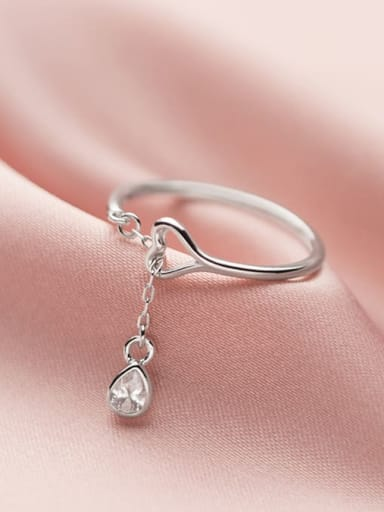 925 Sterling Silver Cubic Zirconia Water Drop Minimalist Band Ring