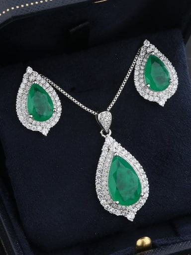 Eardrop Brass Cubic Zirconia Vintage Water Drop Earring Ring and Necklace Set
