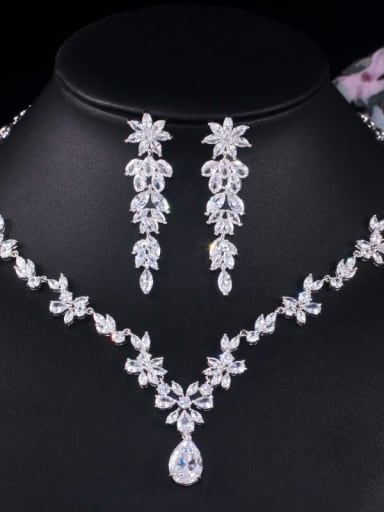 Copper Cubic Zirconia Luxury Flower Earring and Necklace Set