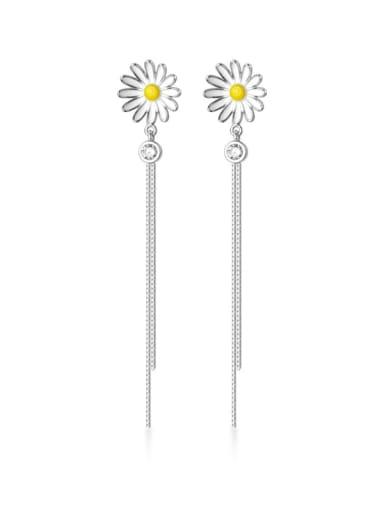 925 Sterling Silver Enamel Flower Minimalist Threader Earring