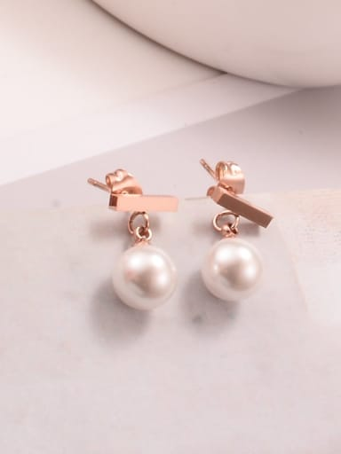 Titanium Imitation Pearl Round Minimalist Drop Earring