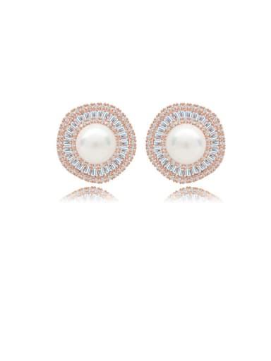 Copper Cubic Zirconia Round Luxury Stud Earring