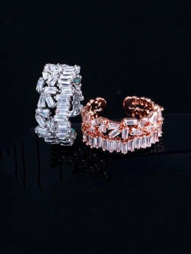 Copper Cubic Zirconia Geometric Luxury Cocktail Ring