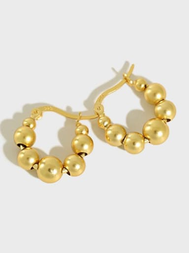925 Sterling Silver Bead Geometric Minimalist Huggie Earring