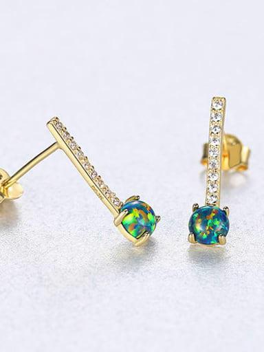 Green 18C11 925 Sterling Silver Cubic Zirconia  Minimalist Geometric  Stud Earring