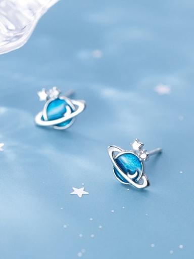 925 Sterling Silver Blue Cosmos planet  Minimalist Stud Earring