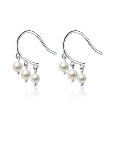 925 Sterling Silver Imitation Pearl  Round Ball Minimalist Hook Earring