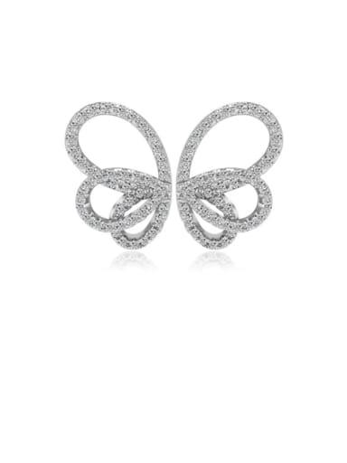 Copper Cubic Zirconia Butterfly Minimalist Stud Earring