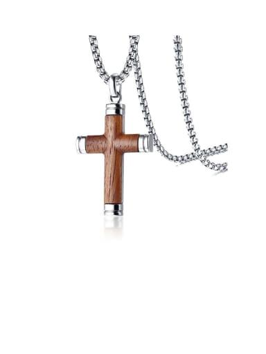 Titanium Wood Cross Minimalist Regligious Necklace