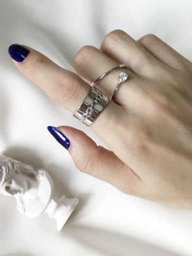 925 Sterling Silver Irregular Vintage Free Size Midi Ring