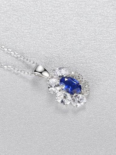 Blue 20I07 925 Sterling Silver Cubic Zirconia Flower Minimalist Necklace