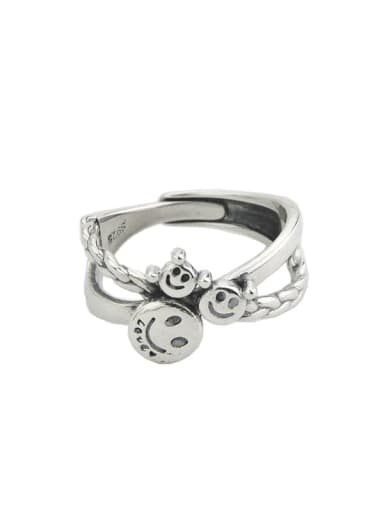 Vintage Sterling Silver With Platinum Plated Simplistic Smiley Free Size Rings