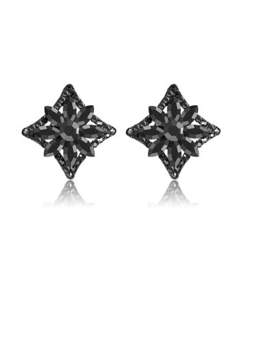 Fashion Metal Rhinestone Black Flower Vintage Stud Earring