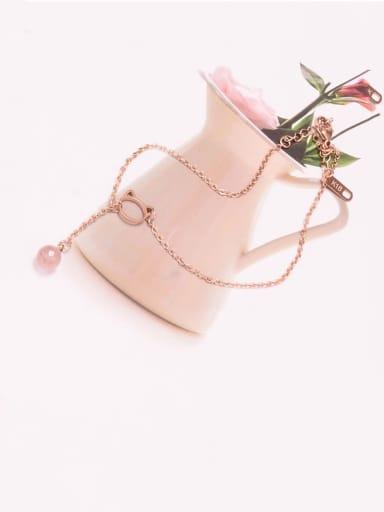 Titanium Minimalist  Bell Tassel Cat Strawberry Crystal Adjustable Bracelet