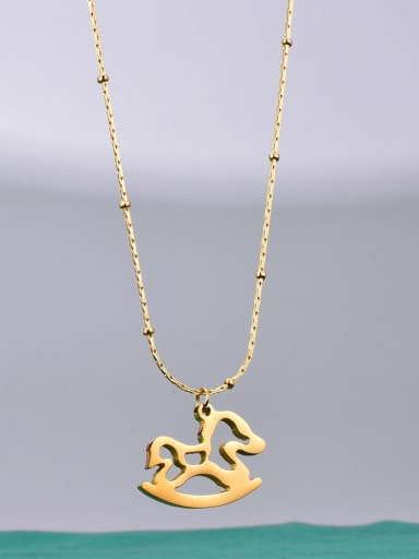 Titanium hollow Horse Minimalist Necklace