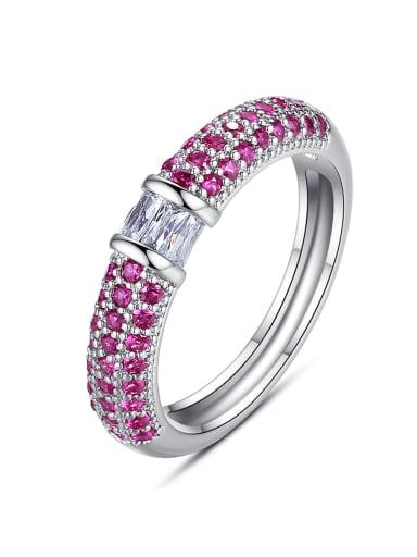 Copper Rhinestone Round Minimalist Band Ring