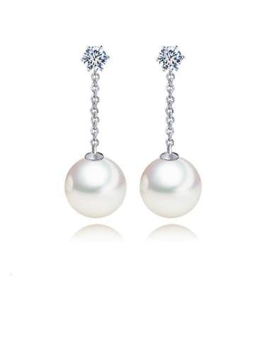 Copper Imitation Pearl Ball Minimalist Threader Earring