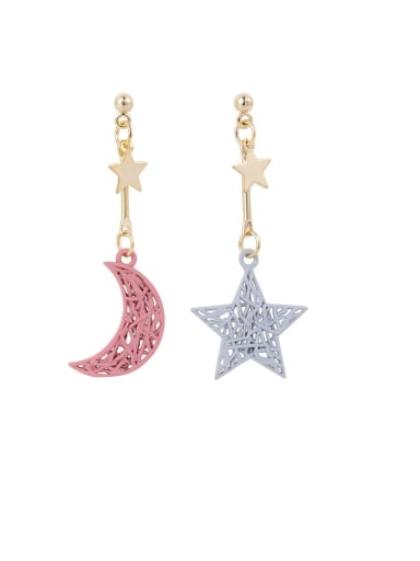 Brass  Minimalist Hollow out Weave Texture Moon Star Hook Earring