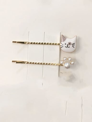 5.5cm-gray Ears Zinc Alloy Irregular Minimalist Barrettes & Clips