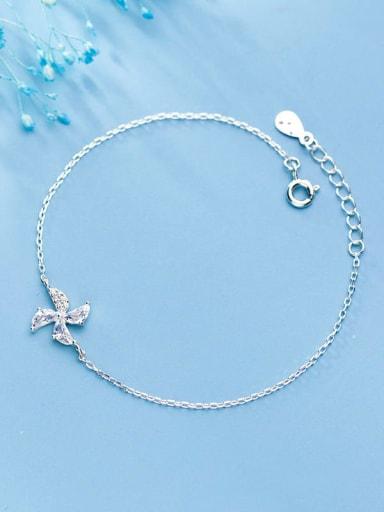 925 Sterling Silver Rhinestone Clover Minimalist Link Bracelet