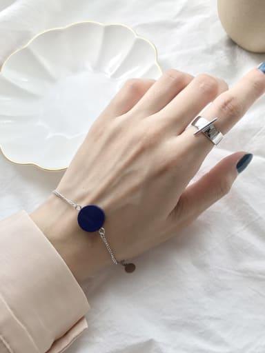 925 Sterling Silver Blue Turquoise Round Minimalist Link Bracelet