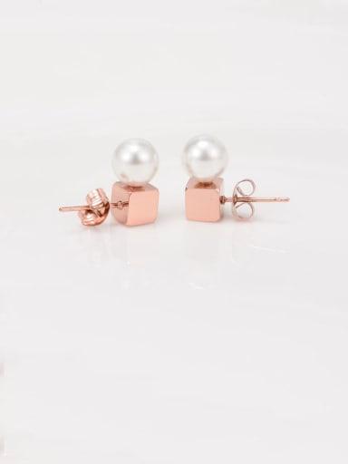 Titanium Imitation Pearl White Round Minimalist Stud Earring