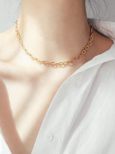 Titanium +long Link chain choker Necklace