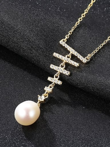 White 7I03 l925 Sterling Silver Freshwater Pearl  pendant Necklace