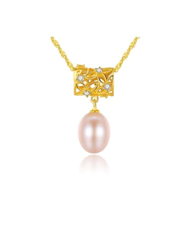 925 Sterling Silver Freshwater Pearl Fashion irregular pendant  Necklace