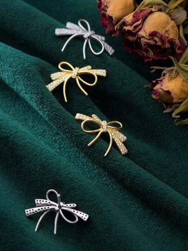 925 sterling silver cubic zirconia  bowknot dainty stud earring