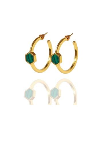 Golden green Copper Malchite White Hexagon Minimalist Drop Earring