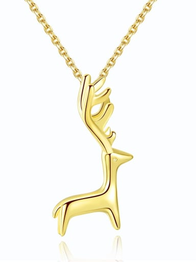 925 sterling silver simple lovely deer Pendant Necklace