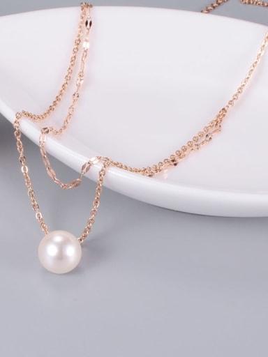 Titanium Imitation Pearl White Round Trend Multi Strand Necklace