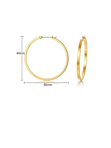 gold:50MM Titanium Hollow  Round Minimalist Hoop Earring