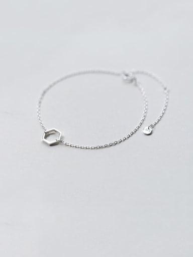 925 Sterling Silver Hollow Geometric Minimalist Link Bracelet