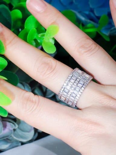 Platinum US 6 Copper Cubic Zirconia Geometric Luxury Band Ring
