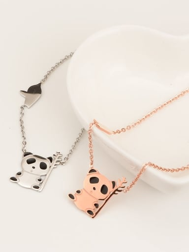 Titanium Black Enamel Panda Cute Choker Necklace