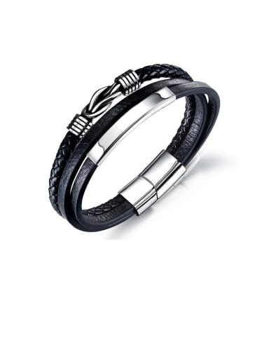 Titanium Leather Irregular Minimalist Woven & Braided Bracelets