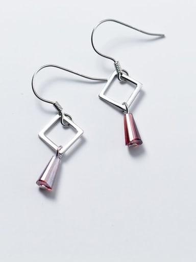 925 Sterling Silver Imitate Crystal Geometric Minimalist Hook Earring