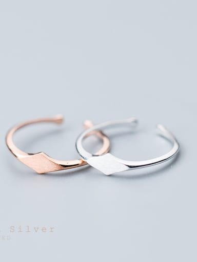 925 Sterling Silver Smooth Geometric Minimalist Free Size Ring