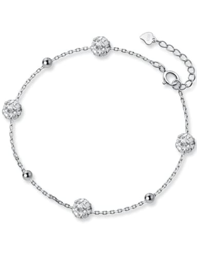 925 Sterling Silver Cubic Zirconia Minimalist Full Diamond Round Ball Link Bracelet