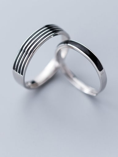 925 Sterling Silver Vintage Fashion stripes  Enamel Free Size Ring