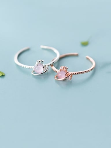 925 Sterling Silver Resin Pink Heart Minimalist Synthetic Crystal  Band Ring