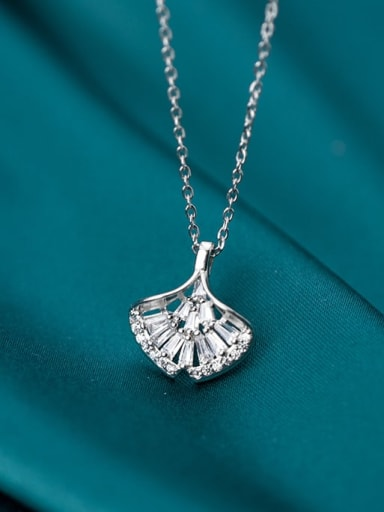 925 Sterling Silver Fashion small fresh diamond apricot leaves Necklace