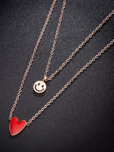 Titanium Red Enamel Heart Minimalist Multi Strand Necklace