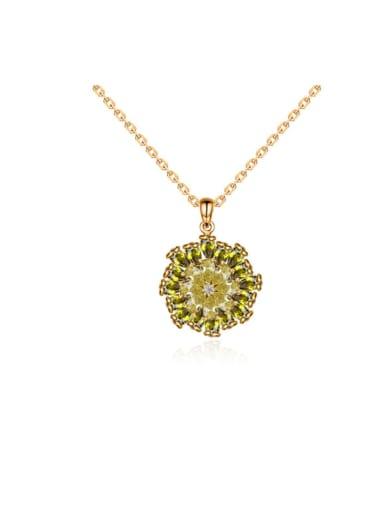 Copper Cubic Zirconia Round Minimalist Necklace