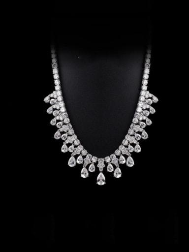 Copper Cubic Zirconia Geometric Luxury Necklace