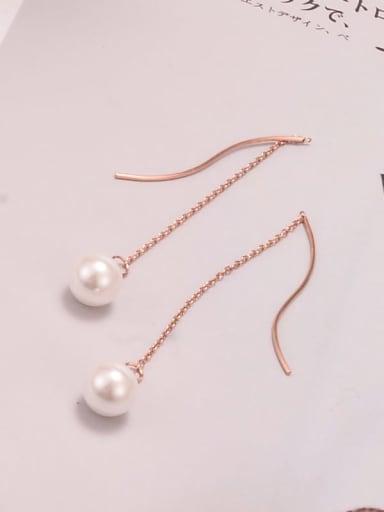 Titanium Imitation Pearl Tassel Minimalist Threader Earring