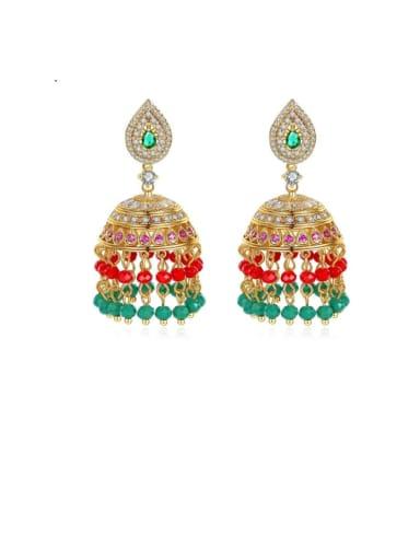 Copper Cubic Zirconia Multi Color Bell Ethnic Drop Earring