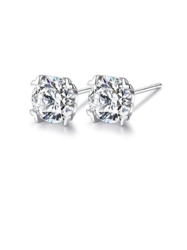 925 Sterling Silver Minimalist  Geometric Cubic Zirconia   Stud Earring